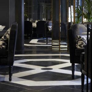 Lapicida_Hotel-Dining_Floors_Carrara_Nero-Antico_Birr-Black