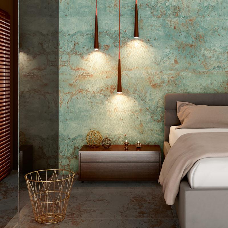 Lapicida Lifestyle Green Metal Textured Bedroom