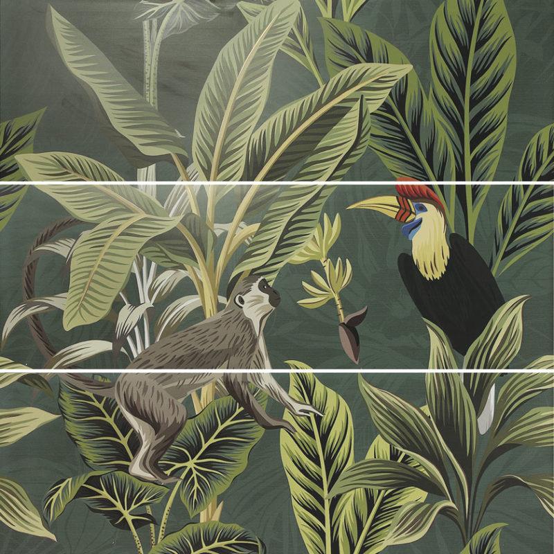 Lapicida Toucan Green Decor Set One Ceramic Decorative