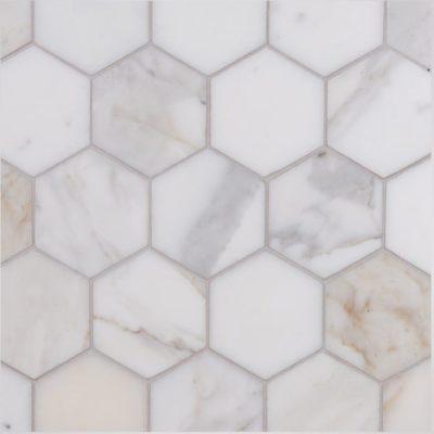 Italian Calacatta Oro Hexagon Mosaic Large Marble