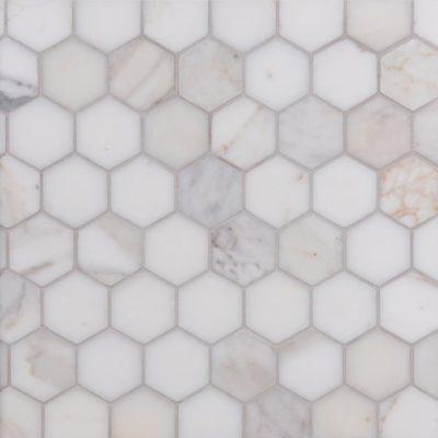 Lapicida Italian Calacatta Oro Hexagon Mosaic Medium Marble