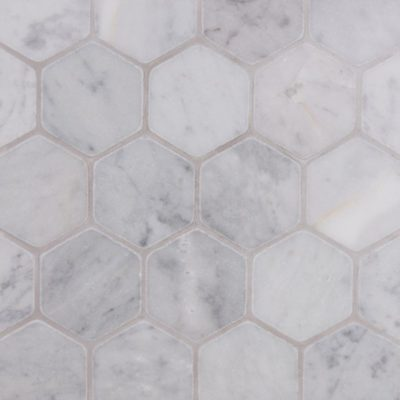 Lapicida Italian Carrara Hexagon Mosaic Large Tumbled Finish