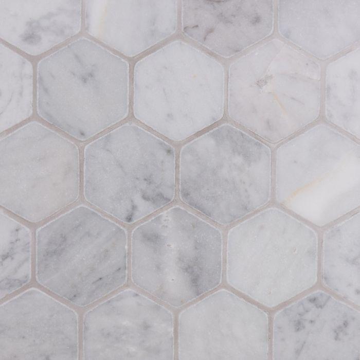 Lapicida Italian Carrara Hexagon Mosaic Large Tumbled Finish