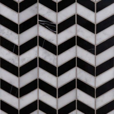 Lapicida Italian Carrara Nero Marquina Chevron Mosaic Marble