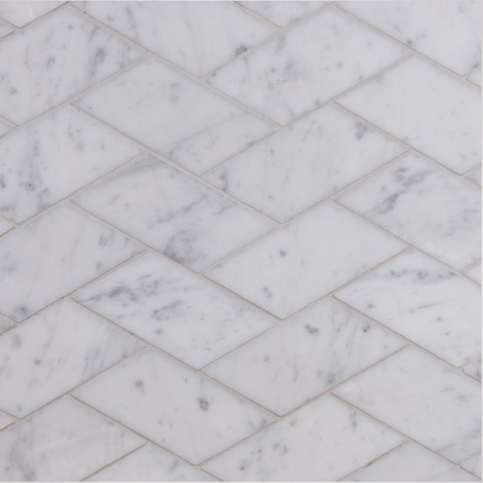 Lapicida Italian Carrara Slash Herringbone Mosaic Marble