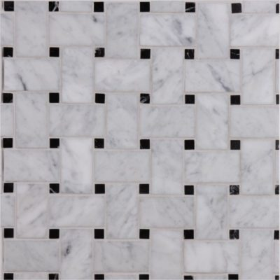 Lapicida Italian_carrara_with_nero_marquina_basketweave_mosaic_medium Marble