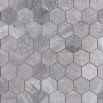 Lapicida Italian Da Vinci Grey Hexagon Mosaic Medium Marble
