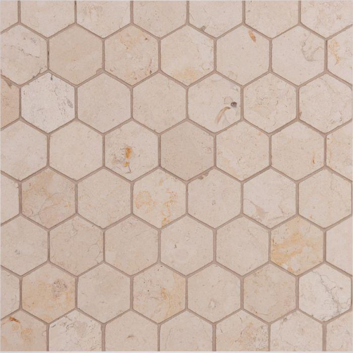 Lapicida Italian Giallo Atlantide Hexagon Mosaic Marble