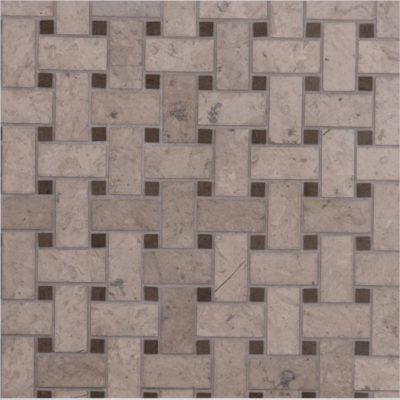 Italian Grigio Chiaro Basketweave Mosaic Small Marble