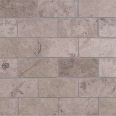 Lapicida Italian Grigio Chiaro Offset Brick Mosaic Large Marble