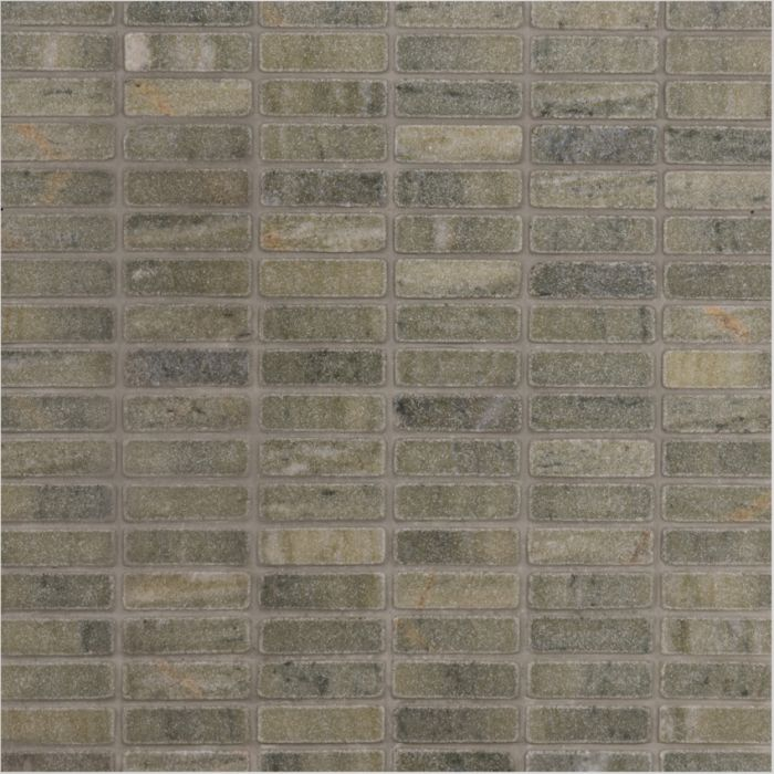 Italian Verde Laguna Brick Mosaic Medium Tumbled Finish Marble