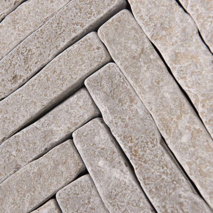Bordeaux Argento Herringbone Limestone