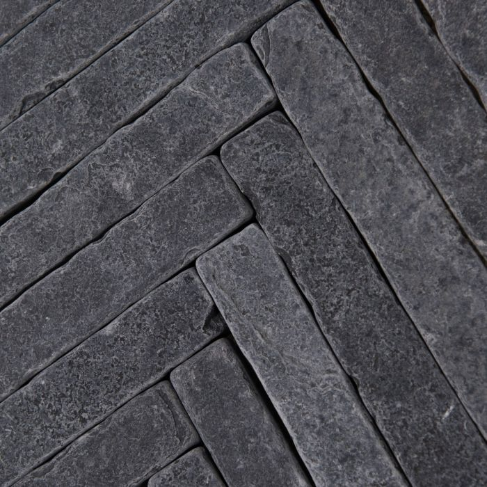 Bordeaux Black Herringbone Limestone