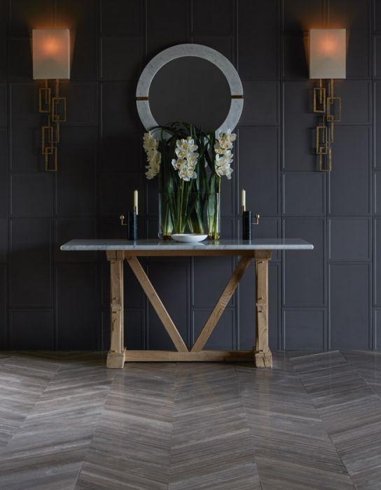 lapicida_bronze-georgette_graphite-paneling hallway