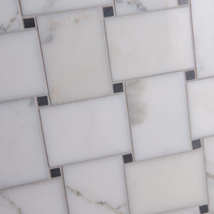 Italian Calacatta Oro Basket Weave Mosaic Large Marble