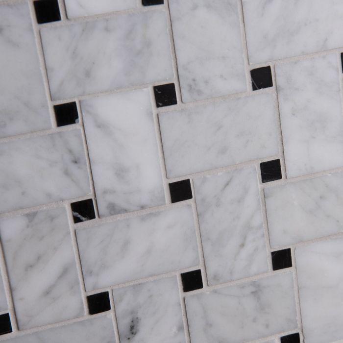 Lapicida Italian_carrara_with_nero_marquina_basketweave_mosaic_medium Marble