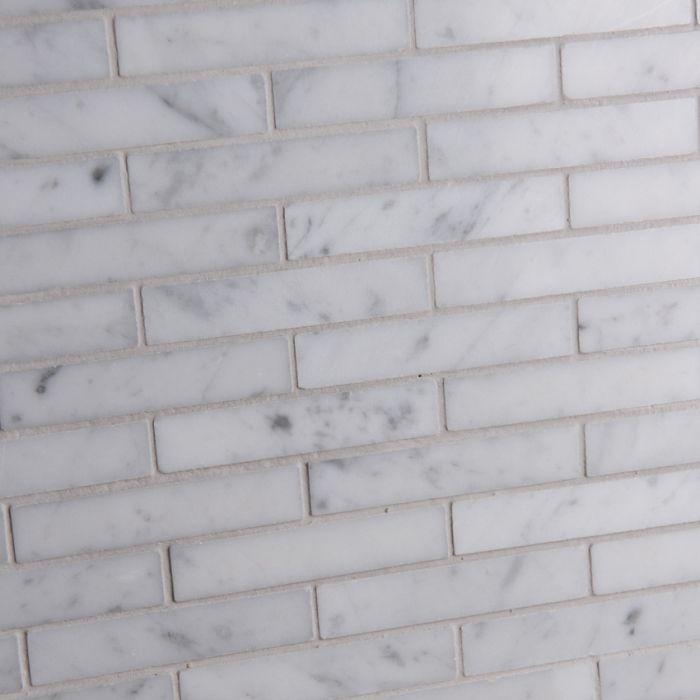 Lapicida Italian Carrara Offset Brick Mosaic Medium Marble