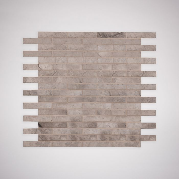 Lapicida Italian Grigio Chiaro Offset Brick Mosaic Medium Limestone