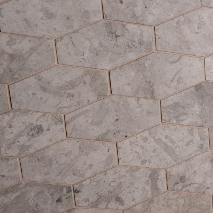 LapicidaItalian Grigio Chiaro Flat Hexagon Limestone