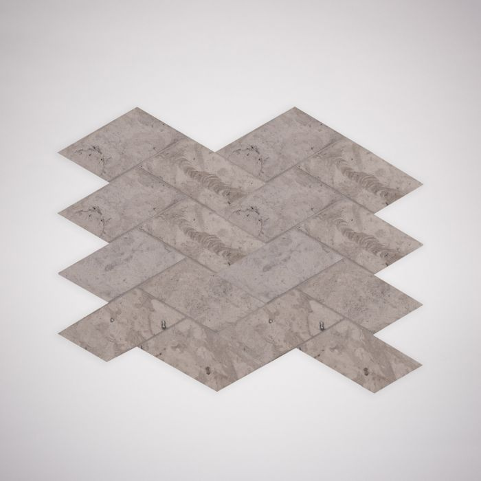 Lapicida Italian Grigio Chiaro Herringbone Mosaic Limestone