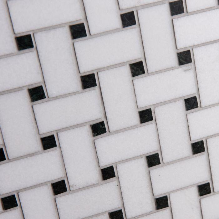 Lapicida Italian Thassos Basketweave Mosaic