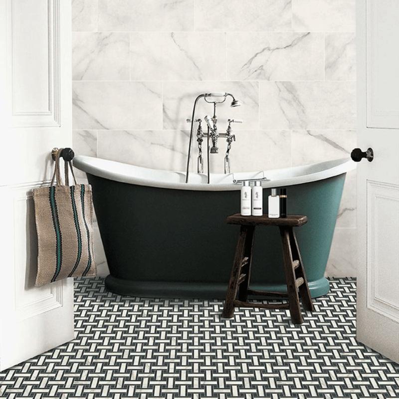 Lapicida antique-marble_bianco_30x60_basketweave-bianco-nero-mosaic_porcelain_natural