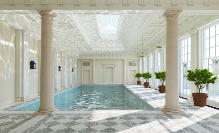 Lapicida Venetian White Marble Swimming Pool